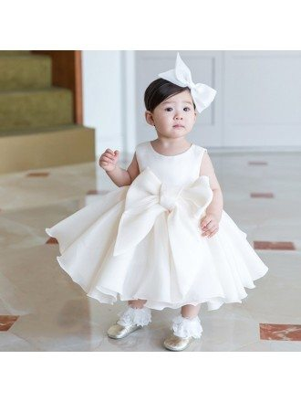 Super Cute Big Bow Ivory Princess Flower Girl Dress For Formal