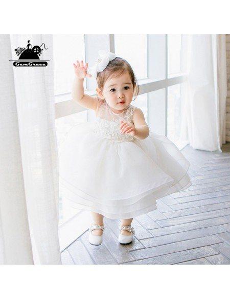 Designer White Puffy Flower Girls Toddler Pageant Dress For Weddings Formal