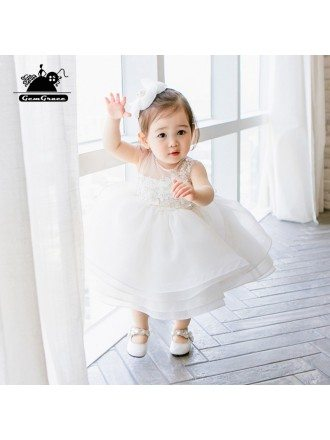 Designer White Puffy Flower Girls Toddler Pageant Dress For Weddings Formal