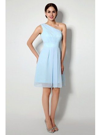 Simple One Shoulder Short Bridesmaid Dress Light Sky Blue