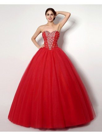 Cheap Ball Gown Red Formal Dress With Beading For Quinceanera