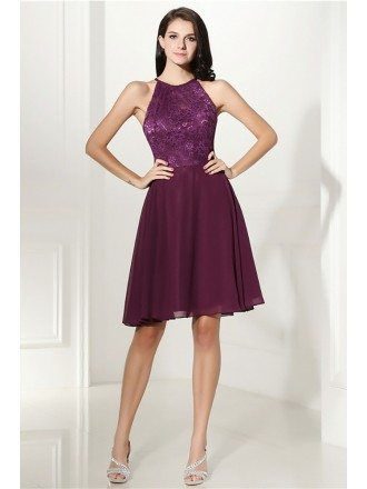 Cheap Purple Short Halter Prom Dress With Lace Bodice For Graduation
