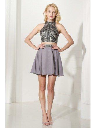 Unique 2 Piece Grey Prom Dress Halter With Crystal Crop Top