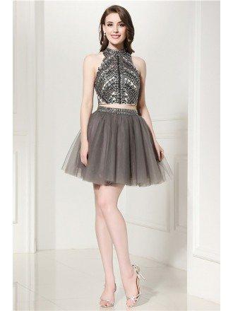 Sparkly 2 Piece Grey Short Formal Dress With Halter Crystal Crop Top