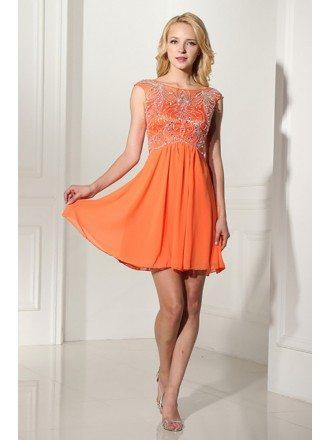 Modest Short Orange Graduation Dress With Beading Bodice