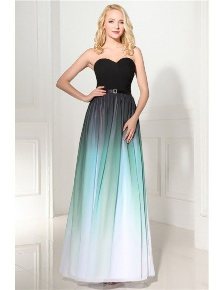 2018 Strapless Ombre Long Prom Dress Sweetheart For Woman