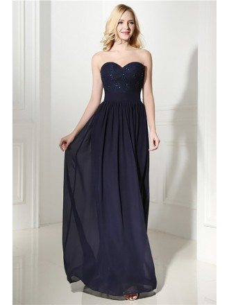 Flowy Chiffon Long Evening Dress Navy Blue With Sweetheart Lace