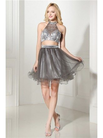 Two Piece Short Halter Prom Dress Grey With Crystal Top