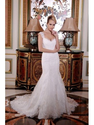 Mermaid Sweetheart Court Train Tulle Lace Wedding Dress With Ruffle