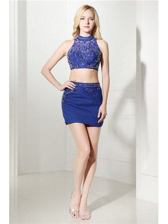 Sexy Bodycon Two Piece Prom Dress Short Beaded For Women
