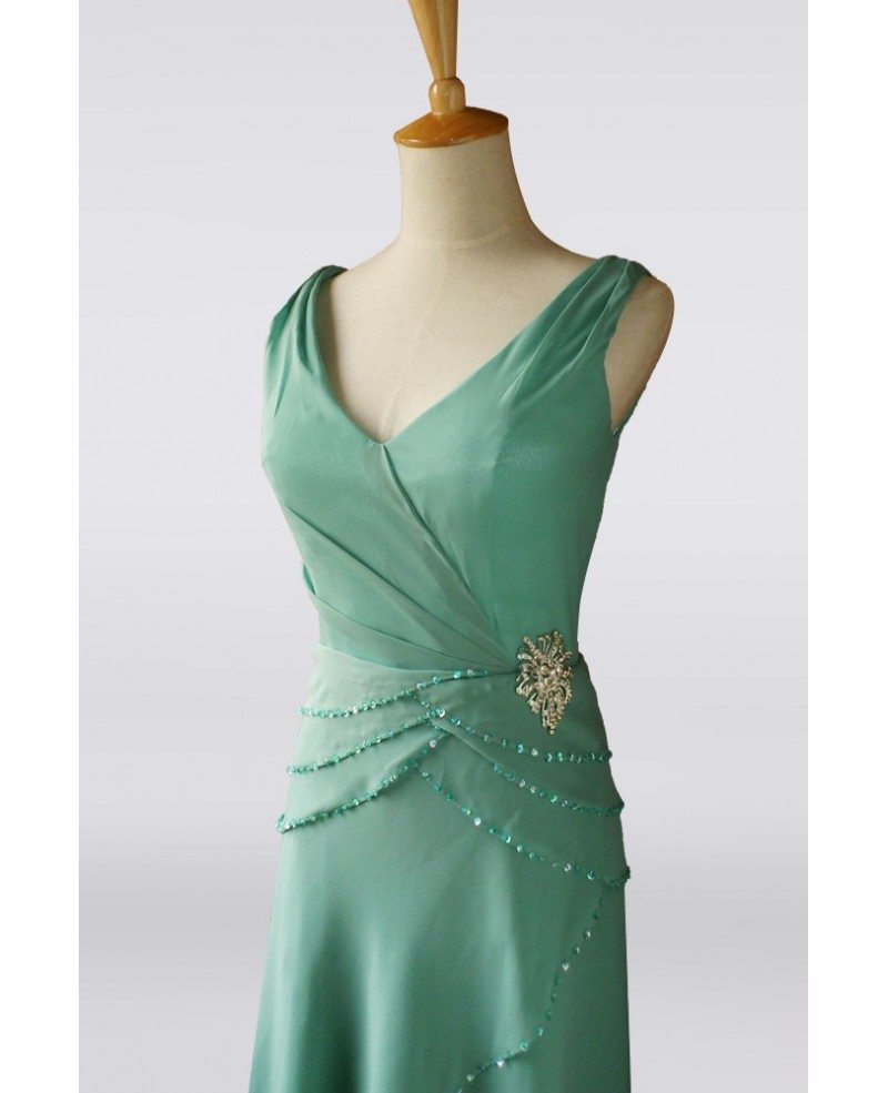 Classy Turquoise Sequined Criss Cross Chiffon Mother Bride