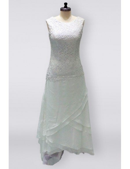 Elegant Ivory Lace Chiffon Ankle Length Older Brides Wedding Dress With Criss Cross