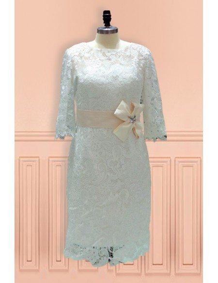 Elegant Sheath High Neck Knee Length Lace Wedding Dress With Lace Sleeves