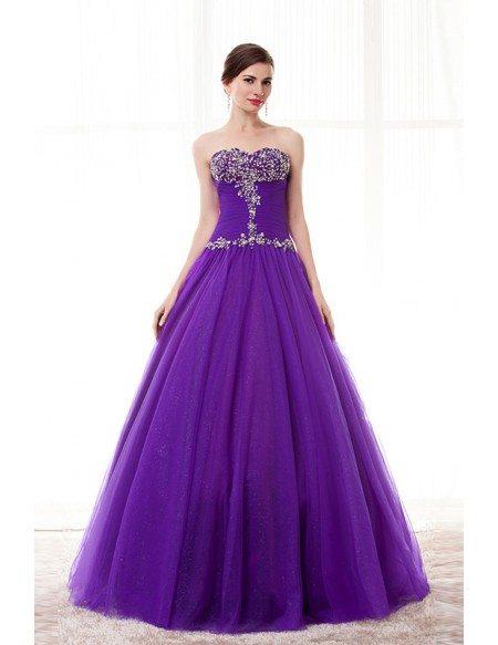 Purple Beaded Top Sweetheart Long Tulle Formal Dress