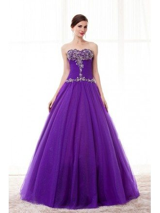 Purple Beaded Top Sweetheart Long Tulle Formal Dress