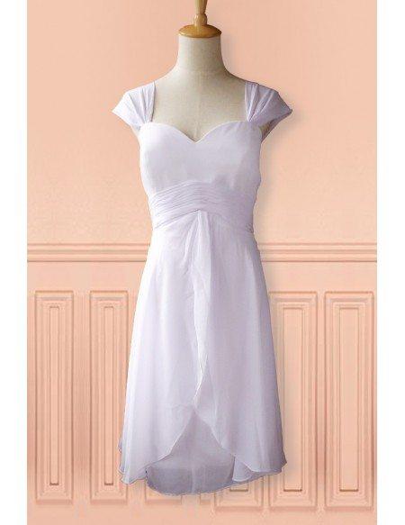 Simple White Cap Sleeve Chiffon Tea Length Wedding Dress Second Dress For Summer
