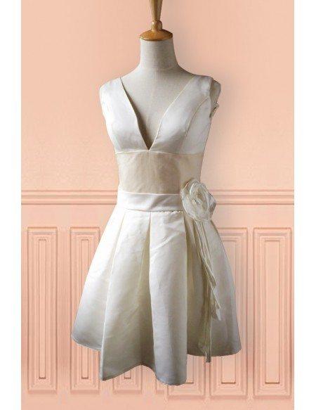 Champagne Satin Deep V-neck Short Wedding Dress Second Dress For Weddings