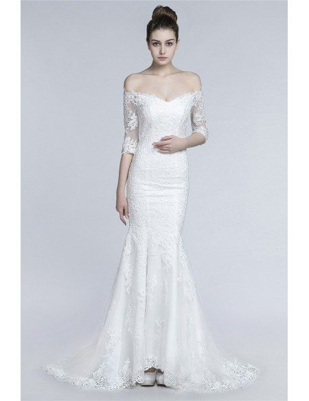 Mermaid Fitted Sexy Lace Wedding Dress With Off The Shoulder Sleeves
