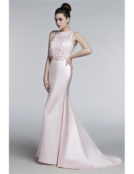 Blush Pink Tight Trumpet Wedding Dress With Sheer Lace Top H76002 Gemgracecom