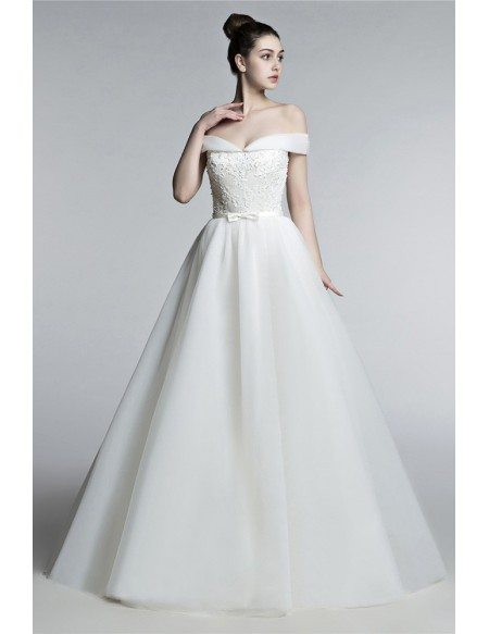 Off Shoulder Princess Wedding Dress Ball Gown With Lace Beading Bodice H76003 Gemgracecom