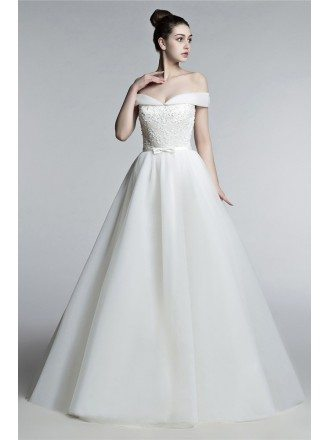 Off Shoulder Princess Wedding Dress Ball Gown With Lace Beading Bodice