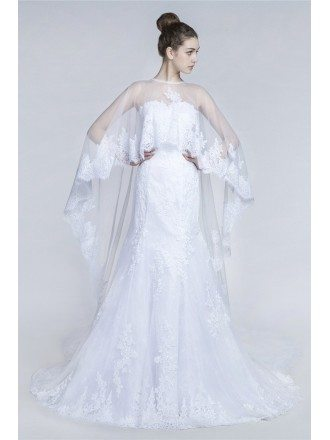 Unique Country All Lace Wedding Dress With Long Train Coverall
