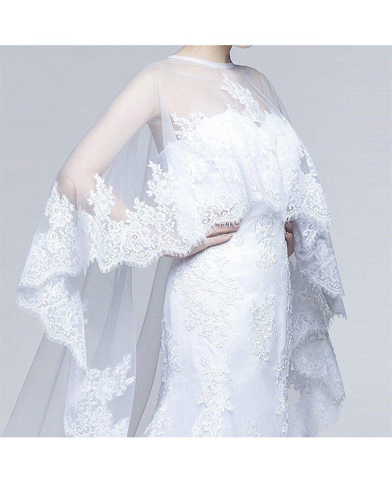 All Lace Wedding Dress: Unique Country All Lace Wedding Dress With Long Train