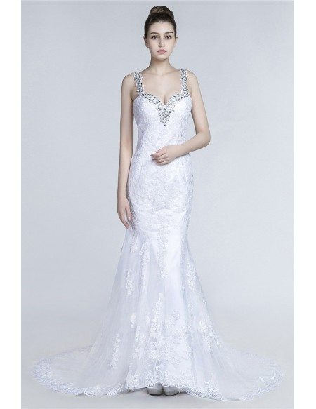 Beautiful Fitted Trumpet Wedding Dress With Beading Lace Straps
