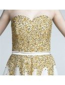 Informal A Line Tulle Beach Wedding Dress With Sparkly Yellow Beading