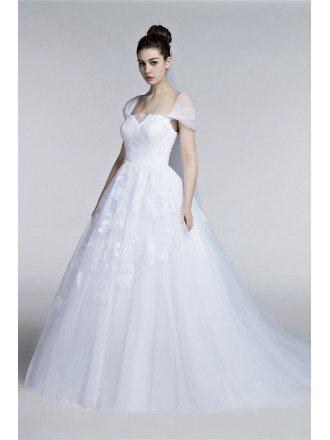 Full Figured Tulle Ballroom Wedding Gowns With Cap Sleeves