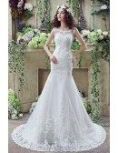 Fit And Flare Curvy Lace Wedding Dress Summer With Low Buttons Back