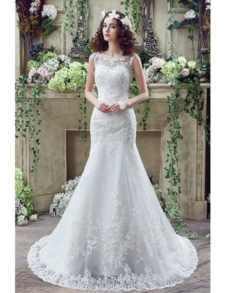 Fit And Flare Curvy Lace Wedding Dress Summer With Low Buttons Back H76016 Gemgracecom