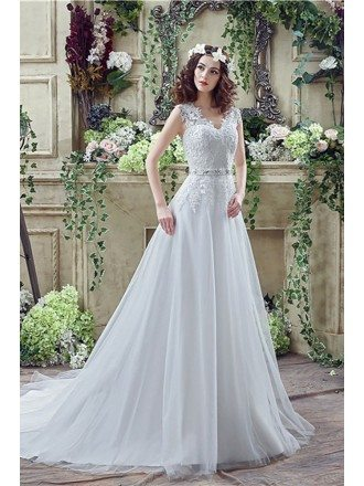 Vintage Long Tulle Wedding Dress With Lace Bodice Buttons Back