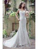 Princess Fitted Trumpet Wedding Dress All Lace With Straps