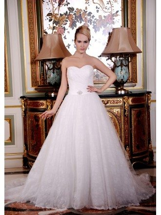 A-Line Sweetheart Court Train Lace Organza Wedding Dress With Beading