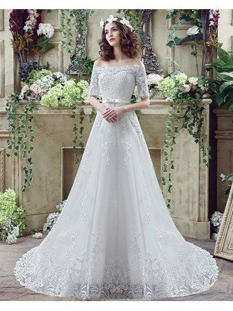 Cheap Gorgeous Princess Lace Wedding Dress With Off The Shoulder Sleeves