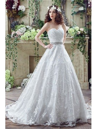 Cheap Ball Gown Lace Wedding Dress With Waist Beading Ribbon