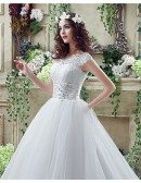 Modest Traditional Big Ballroom Wedding Dresses With Lace Top