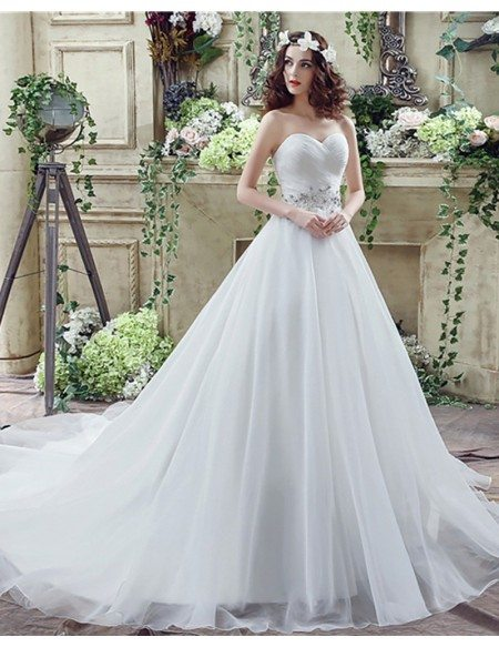 Cheap Corset Ballroom Bridal Dress With Beaded Lace Waist
