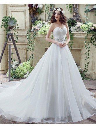 Cheap Corset Ballroom Bridal Dress With Beaded Lace Waist