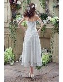 Strapless Light Lace Beach Wedding Dress Tea Length For Summer