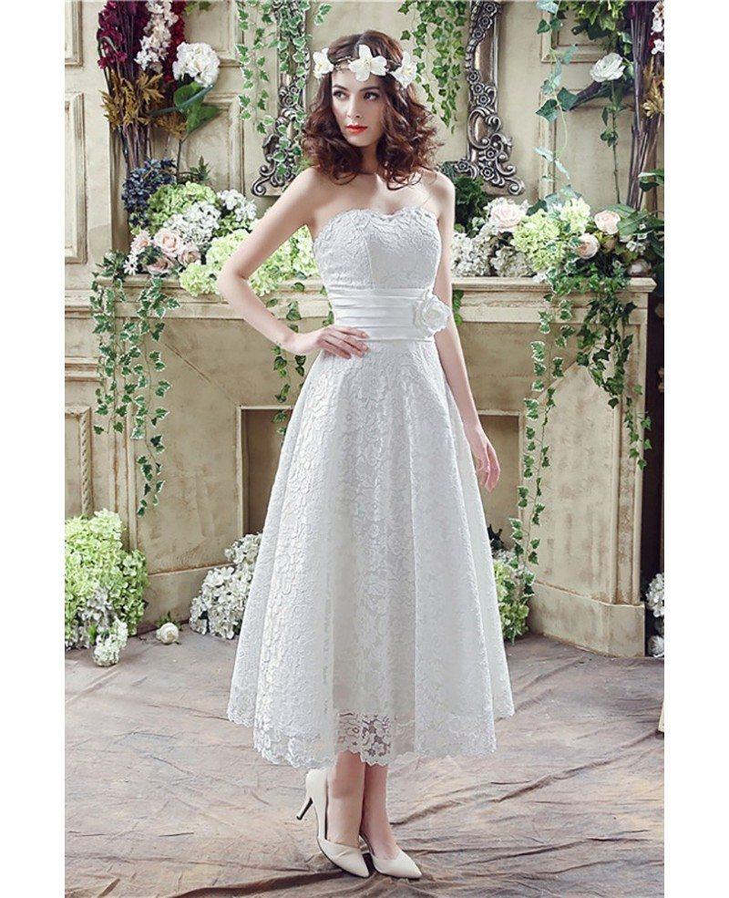 Strapless Light Lace Beach Wedding Dress Tea Length For