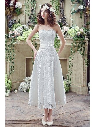 Strapless Light Lace Beach Wedding Dress Tea Length For Summer