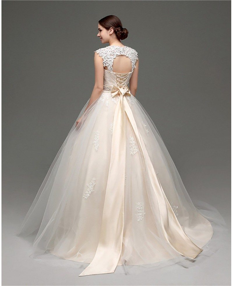 Ballroom Gown Wedding Dresses: Casual Ballroom Champagne Bridal Gowns With Lace Cap