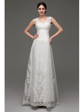Unqiue Lace Light A Line Beach Wedding Dress With Sheer Back