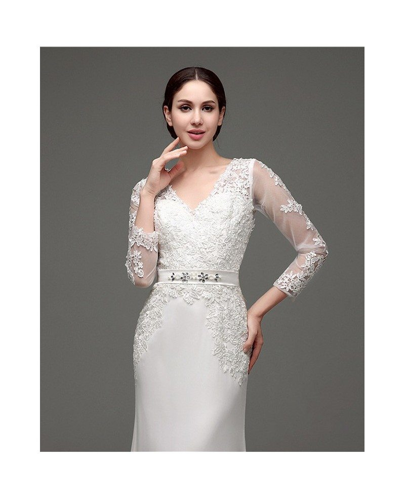 Cheap 3 4 Sleeve Wedding Dresses: Cheap Vintage V Neck Lace Wedding Dress Fitted With 3/4