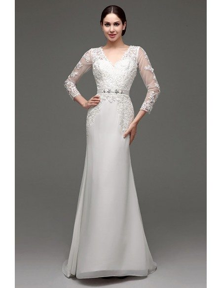 Cheap Vintage V Neck Lace Wedding Dress Fitted With 3/4 Sleeves