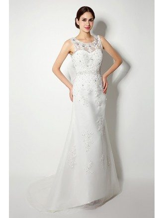 Casual Tight Lace Beading Wedding Dress Long With V Bow Back