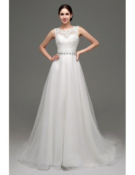Cheap Elegant Petite Lace Wedding Dress With Sheer Back H76034 Gemgrace Com