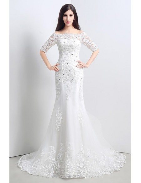 Off The Shoulder Corset Wedding Dress Trumpet Fitted With 1/2 Sleeves